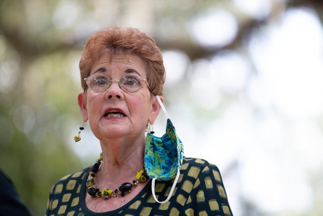 Local activist Barbara DeVane speaks to the press during a demonstration in protest of the herd immunity approach to COVID-19 and Gov. Ron DeSantis' handling of the pandemic at the Governor's Mansion Wednesday, Sept. 23, 2020.
