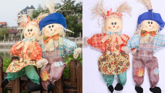 These scarecrows can scare up plenty of smiles.