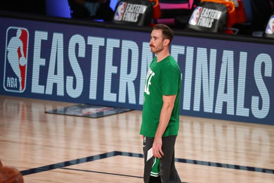 Boston Celtics forward Gordon Hayward warms up before Game 3 of the Eastern Conference finals.