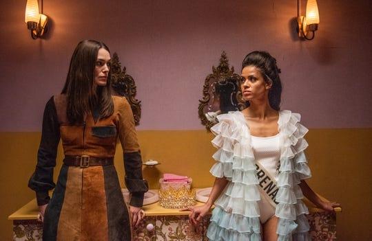 "Keira Knightley stars as a feminist mom and Gugu Mbatha-Raw plays Miss Grenada in the 1970-set dramedy ""Misbehaviour."""