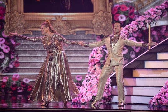 "Carole Baskin and Pasha Pashkov perform on the show's most expensive set ever on ""Dancing With the Stars."""