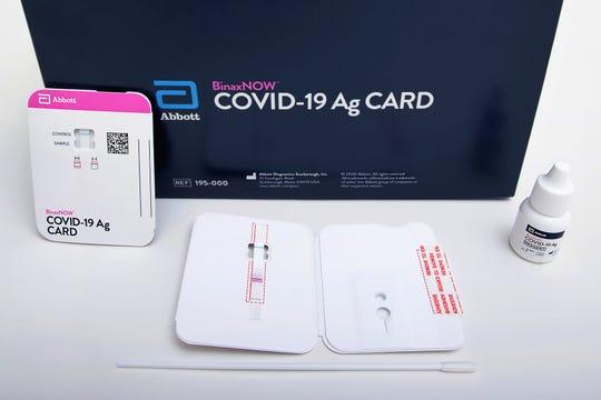 Abbott Laboratories' BinaxNOW rapid COVID-19 nasal swab test.