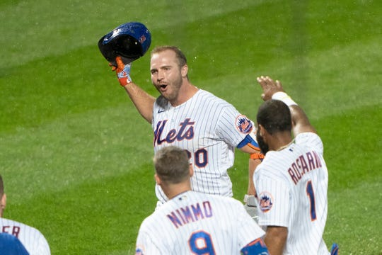 Mets first baseman Pete Alonso celebrates a walk-off homer against the Yankees on Sept. 3.