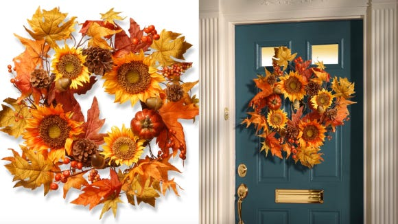 A pop of autumn color for your door.