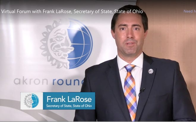 Ohio Secretary of State Frank LaRose talks about preparing for and defending Ohio's upcoming presidential election at a virtual Akron Roundtable forum.