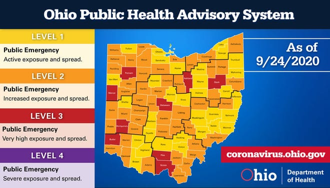 The Ohio Public Health Advisory System for Sept. 24, 2020.