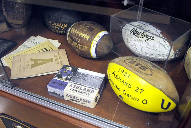 Ashland University football trophy case outside of the future AU Football Room 100 in the Troop Center.