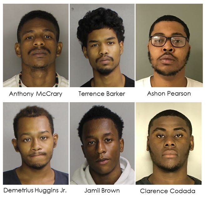 These six were arrested in Montgomery County on gun trafficking charges, according to the Montgomery County District Attorney's Office.