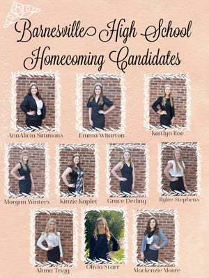 The Barnesville High School Homecoming Court was recently selected. The court includes, Ann Alicia Simmons, Emma Watson, Kaitlyn Roe, Morgan Winters, Kinzie Kaplet, Grace Detling, Rylee Stephens, Alana Trigg, Olivia Starr and Mackenzie Moore. The winner will be selected by choosing the winning rose on Friday, Oct. 2.