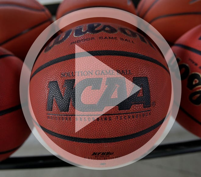 In this March 22, 2010, file photo, basketballs are seen before Northern Iowa's NCAA college basketball practice in Cedar Falls, Iowa.