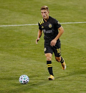 Midfielder Sebastian Berhalter controls the ball against Minnesota United FC on Wednesday. [Kyle Robertson/Dispatch]