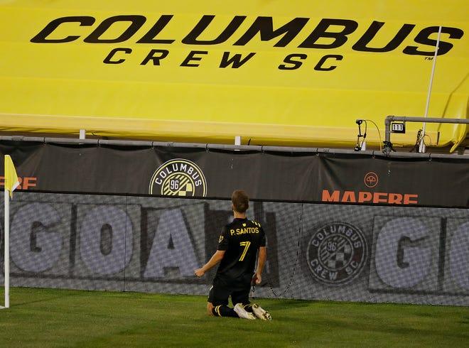 Columbus Crew SC forward Pedro Santos (7) celebrates his goal against Minnesota United FC in the 2nd half during their MLS game at MAPFRE Stadium in Columbus, Ohio on September 23, 2020.