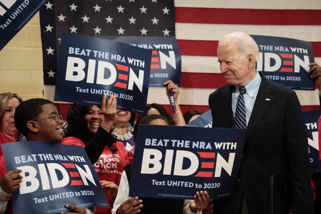 Democratic presidential candidate and former Vice President Joe Biden greets supporters during an Ohio campaign stop at the Driving Park Community Center in Columbus. That was in March, right before the pandemic hit, and the last time Biden was in Ohio.