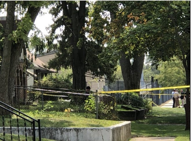 Columbus police investigate the city's 111th homicide on Thursday, Sept. 24, 2020 on the 2100 block of Homestead Drive near Linden McKinley High School.