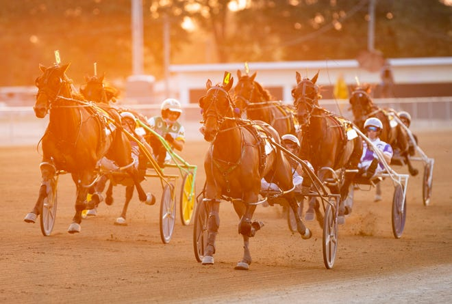 Captain Barbossa and driver Joe Bongiorno cross the finish line to win the 75th Little Brown Jug at the Delaware County Fairgrounds on Thursday.