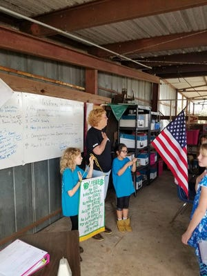 Altoona Eagles 4-H club leader Beth Nelson leading the American and 4-H pledge with her members.