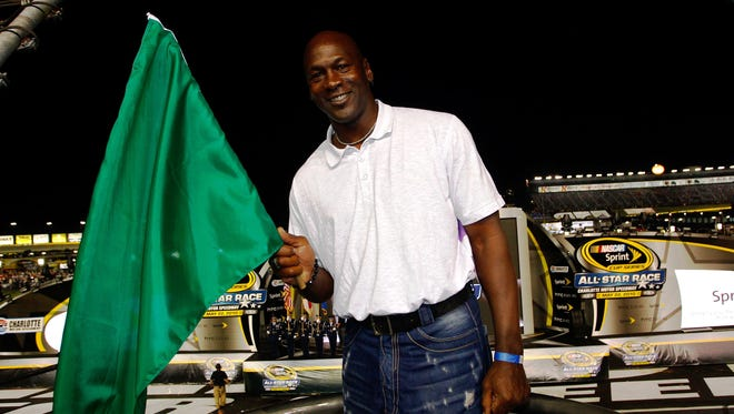 Michael Jordan waved the green flag to start the 2010 NASCAR All-Star Race at Charlotte Motor Speedway.