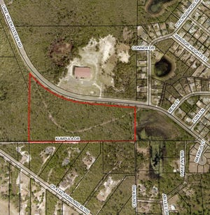 An aerial map shows the 16 acres of land in Deltona that the City Commission approved for rezoning on Monday, Sept. 21, 2020. A developer wants to bring 61 single-family homes to the site located just south of Lake Helen Osteen Road and just north of Kumpula Drive.