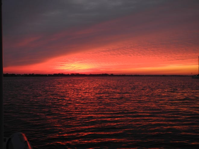 A red sky like this one in the morning alerts sailors to take warning with heavy weather ahead.