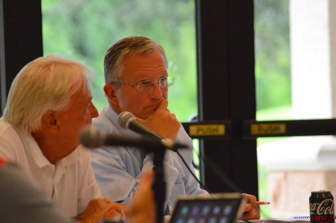 Port Orange City Manager Jake Johansson, right, listens to a city budget presentation with Mayor Allen Green, left, at a City Council workshop in this file photo. On Wednesday, Mayor Don Burnette said the manager, who has managed the city for five years, has to take an extended leave of absence and this coming Tuesday, the City Council will meet to decide what to do to make sure the municipality runs smoothly in Johansson's absence.  | News-Journal/Casmira Harrison