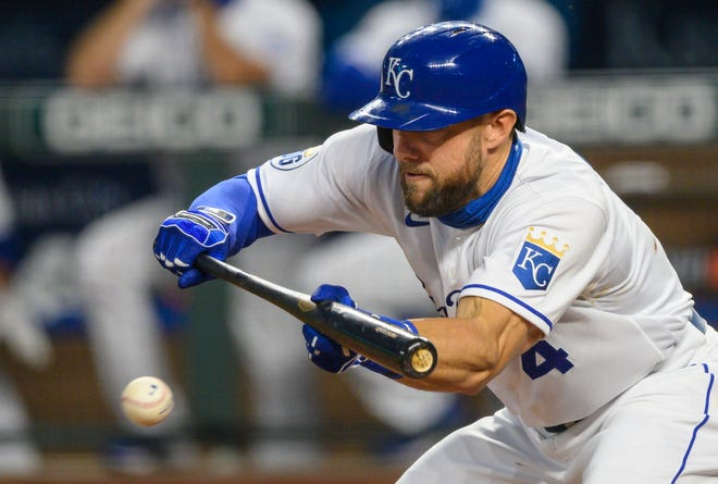 Kansas City Royals' Alex Gordon lays down a bunt in last week's game against Pittsburgh. The seven-time Gold Glove winner announced he will retire at the end of his 14th season with the Royals.