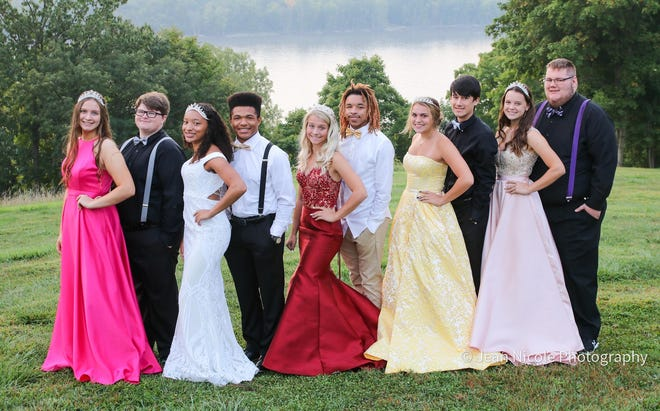 The students on the 2020 Burlington High School Homecoming Court are, from left, Jessica Kendell, Eli Bell, Madison Bunton, Taylor Bunton, Adessa Brandenburg, Michael Alexander, Elayna Zaiser, Mitchell Leinbach, Brynn Casady and Dayton Buehner. The king and queen will be crowned at halftime of the Friday night football game at Bracewell Stadium in Burlington.