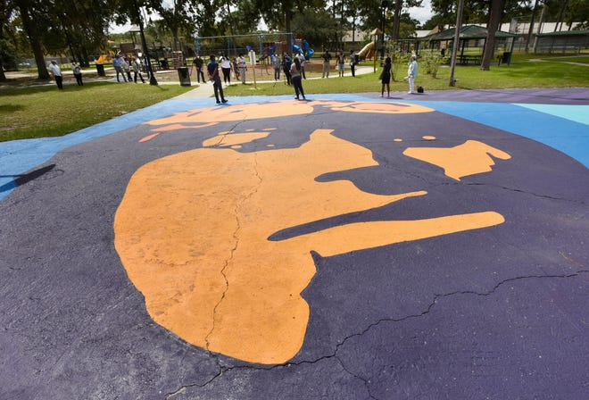 A new basketball court mural at Warrington Park is part of Arlington 20/20's revitalization of the neighborhood. The group is celebrating five years of impact with a three-day festival beginning Friday.