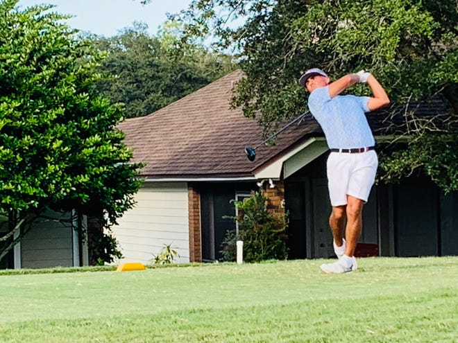 Bryson Nimmer follows through on his tee shot at the 18th hole of the Hidden Hills Country Club on Thursday during the second round of the LOCALiQ Series Jacksonville Championship
