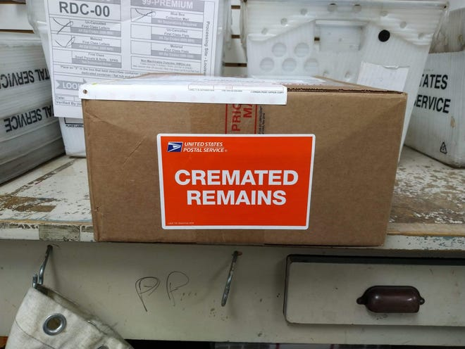 This box carrying Amy Redford's mother's cremated remains was sent from Kentucky to Jacksonville.