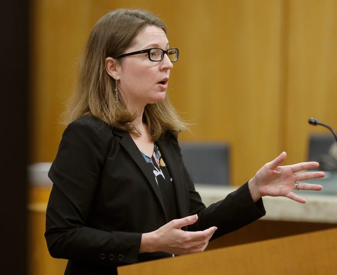 In this Jan. 8, 2020, Ledger file photo, then-assistant state attorney  Jennifer Swenson presents an opening statement to a jury at the county courthouse in Bartow. Swenson, who was appointed to the Polk County court bench in May, has now been named to a circuit judgeship for the Bartow-based 10th Judicial Circuit.