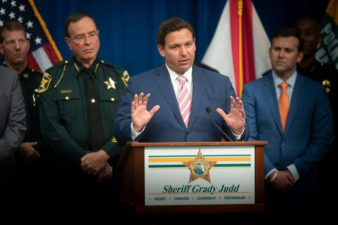 Florida Gov. Ron DeSantis unveiled a plan to deal with violent, disorderly protesters during a news conference at Polk County Sheriff's Office headquarters on Monday.
