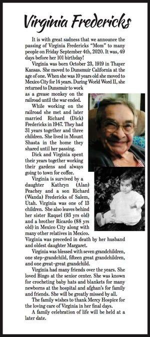 Obituary: Virginia Fredericks