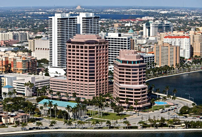 Phillips Point and other high-rises can be seen in downtown West Palm Beach. City leaders are confident that demand for office space will remain strong, despite recent trends. [Lannis Waters/The Palm Beach Post]