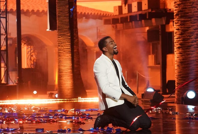 "Stockton spoken-word performer Brandon Leake kneels on the floor after he was crowned the ""America's Got Talent"" Season 15 winner during Wednesday's finale, capping a historic run for the talented poet and Stockton native."