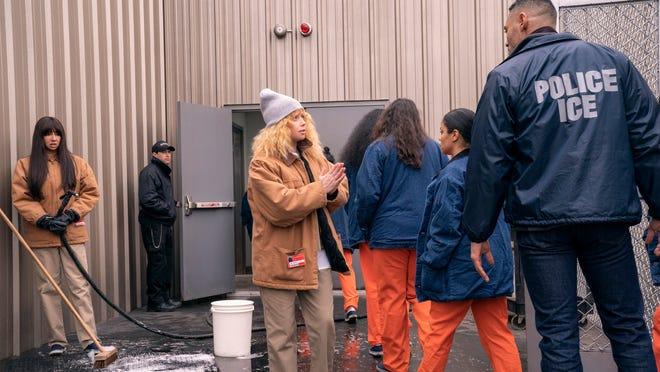 "Nicky Nichols (Natasha Lyonne) pleads with an ICE officer in the Netflix series ""Orange Is the New Black."" (Cara Howe/Netflix/TNS)"