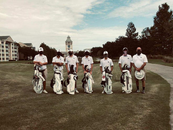 Ponte Vedra won the St. Johns County Championship on Wednesday afternoon after shooting a 15-under 273. Five of the six Sharks golfers shot under par. From left: Jack Barned (72), Scotty Kennon (69), Connor Holcroft (71), Danny Erickson (68), Will McGriff (69), Lucas Slayden (67).