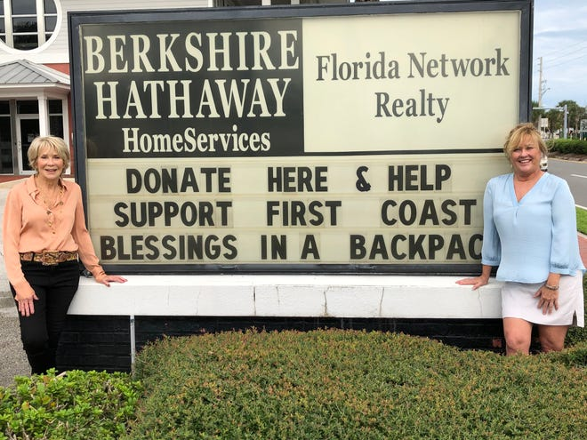 Berkshire Hathaway HomeServices Florida Network Realty raised $7,540 for First Coast Blessings in a Backpack. Shown are Linda Sherrer (left), founder and chair of Florida Network Realty and Susan Evans, managing director of First Coast Blessings in a Backpack.