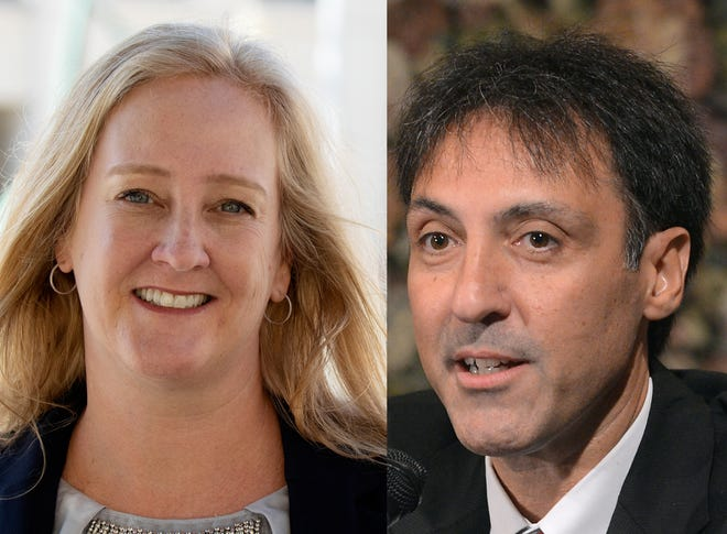 Democrat Betsy Young, a criminal attorney, left, and incumbent Republican Ed Brodsky, current state attorney, are candidates for State Attorney's Office for the 12th Judicial Circuit.