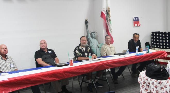 Yreka City Council candidates Steve Radford, Corey Middleton, Norman Shaskey, Duane Kegg and Tryes Cha at a candidates forum on Sept. 22, 2020.