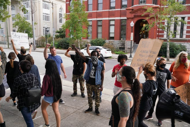 Black Lives Matter and Women Organizing For Wilmington held a rally to protest Breonna Taylor verdict Thursday, Sept. 24, 2020, that started at the 1898 Memorial and concluded at City Hall.