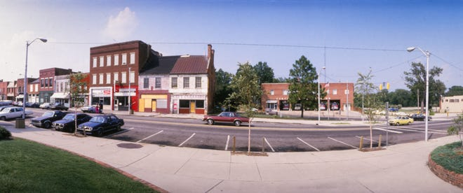 This panoramic image shows Person Street in downtown Fayetteville on Aug. 5, 1986.