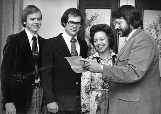 Attending the 1976 Doctors-Lawyers Banquet were, from left, Dr. David Harper, attorneys Bud Arnot and Beverly Tarpley, and Dr. Jim Webster. Harper was new to Abilene while Arnot was a new member of the Abilene Bar Association.