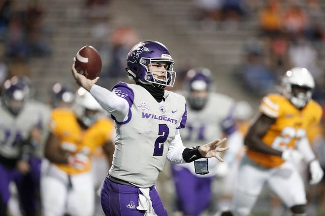 ACU quarterback Peyton Mansell throws a pass against UTEP during the Wildcats' season opener Saturday, Sept. 19, 2020, at the Sun Bowl in El Paso. UTEP won 17-13.