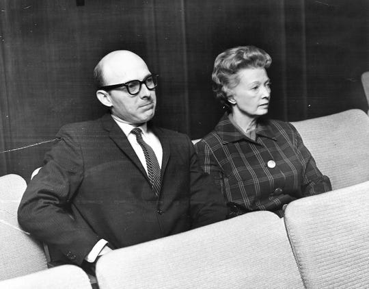 Jo Jameson with outgoing Corporation Court judge Don Lane in December 1968. She was hired at $800 a month by the city of Abilene