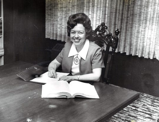 Beverly Tarpley at work. She was hired as an attorney in 1951 and practiced throughout her career in Abilene.