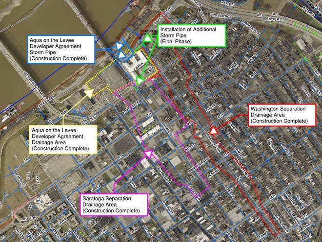 A Sanitation District No. 1 of Northern Kentucky map details the area where a new storm sewer pipe will be installed around Newport on the Levee to finish a separation project that will eliminate 15 million gallons of sewer overflow when completed in April 2021.