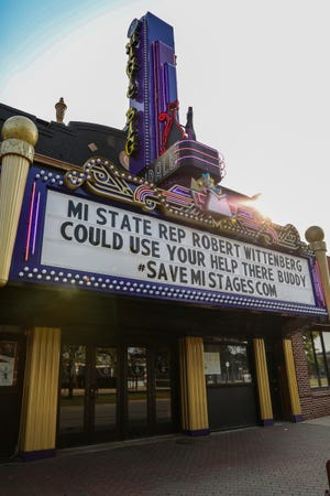 The marquee of the Magic Bag theater in Ferndale displays a message in support of the #SaveMIStages campaign, tailored to Michigan State Rep. Robert Wittenberg, photographed on Sept. 24, 2020.