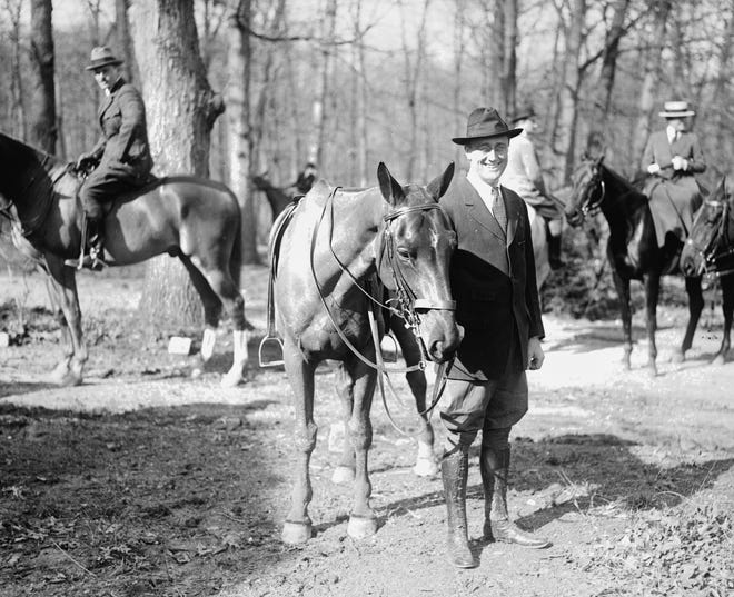 Franklin D. Roosevelt during a social function in Washington, D.C., on April 9, 1920 -- less than six months before he spoke to about 3,000 people in Central Park on Oct. 2, 1920. Polio would rob him of the use of his legs in mid-August 1921, less than a year after he appeared in Henderson.