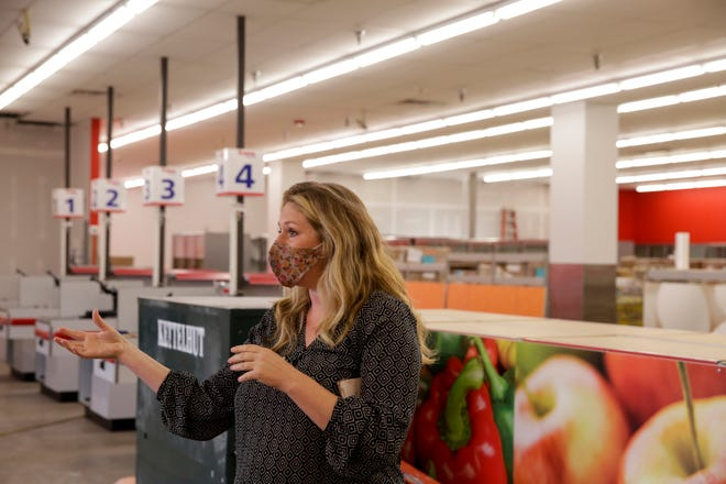 Kier Crites, Food Finders Food Bank chief philanthropy officer, talks about the food bank's new pantry location in the former Save a Lot on Greenbush Street, Thursday, Sept. 24, 2020 in Lafayette.