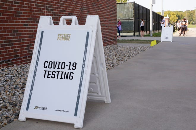 A sign outside the COVID-19 testing site at Purdue University's Turf Recreation and Exercise Center, Thursday, Sept. 24, 2020 in West Lafayette.